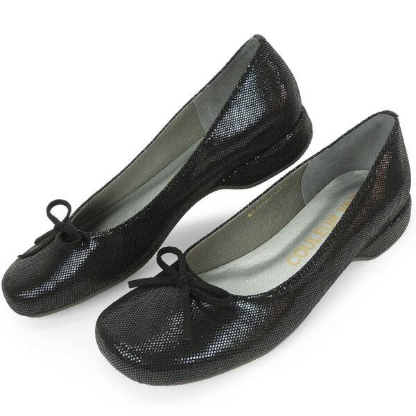 クロールバリエ バレエシューズ オブリークトゥ パンプス レディース 女性用 ドットブラック 日本製 神戸靴 ブランド クロールバリエ COULEUR VARIE No.529251