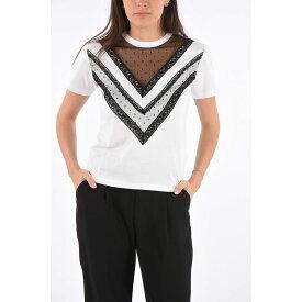 RED VALENTINO/レッド ヴァレンティノ Black & White レディース Crewneck T-shirt with Lace Applications dk