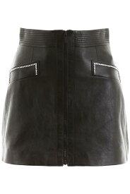 MIU MIU/ミュウ ミュウ レザースカート NERO Miu miu leather mini skirt with crystals レディース 秋冬2019 MPD579 1SNT ik