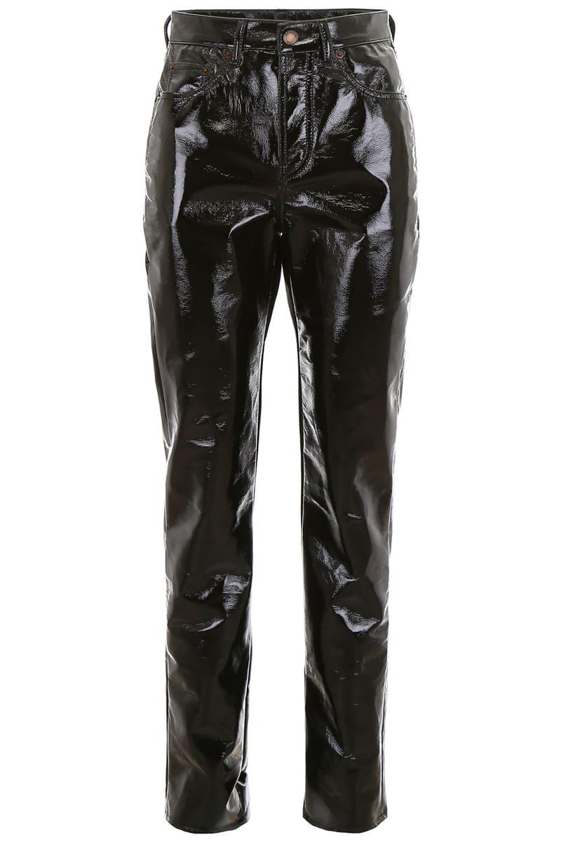 SAINT LAURENT PARIS/イヴ・サンローラン ドレスパンツ NERO Saint laurent vinyl trousers レディース FW2018 536361 Y951T ik