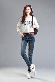 ダメージジーンズ スキニーデニム スリム 韓国ファッション 人気 大きいサイズ ウエストゴム デニム ロング パンツ 長ズボン ボトムス レディース