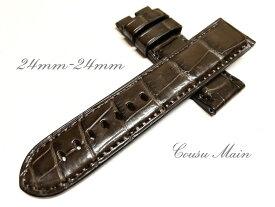 【CousuMain】24mm-24mm ロングサイズ ロコダイル クロコベルト 両面 尾錠用 手縫い クロコ時計ベルト(PANERAI パネライ 44mmケース)向 R478