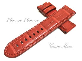 【CousuMain】24mm-24mm ロングサイズ ロコダイル クロコベルト 両面 尾錠用 手縫い クロコ時計ベルト(PANERAI パネライ 44mmケース)向 R479
