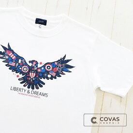 COVAS GRAPHIC アメリカンイーグル 301452-10 WHITE ホワイト 白 アメリカ 鷲 半袖 Tシャツ 天竺 綿100% オリジナル デザインTシャツ グラフィックTシャツ XS XL ユニセックス 3980円以上送料無料