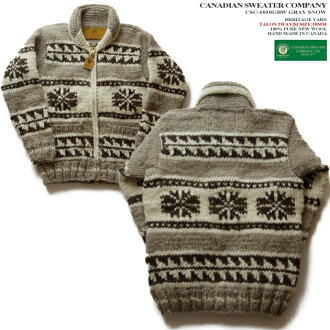 Cowichan sweater (cow Japanese spaniel jacket )|) | made in Canadian Sweater Company (Canadian sweater company), Canada SNOW (Snow )|) Gray | 100% of wool (heritage yarn )|) Full opening | Zip up (two-way Zipper )|) Long sleeves