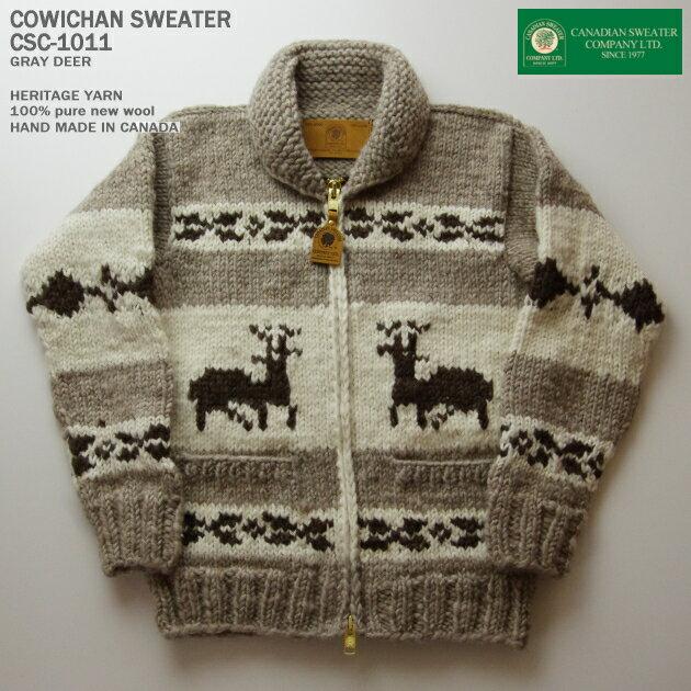 カナディアンセーター|カウチンセーター(ジャケット)|Canadian Sweater Company(カナディアン セーター カンパニー)・カナダ製|CSC-1011 DEER(ディア)|グレイ|メンズ|ウール100%(ヘリテージヤーン)|フルオープン|ジップアップ(two-way Zipper)|長袖