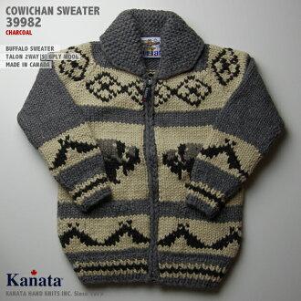 카우틴세이타(카우틴쟈켓트)|KANATA사(카나타)・캐나다제|KA39982 BUFFALO SWEATER(붓파로・스웨터)|챠콜|맨즈|울 100%(Wool100%)|6 PLY WOOL(6개 꼼)|풀 오픈|TALON 2 WAY[S](TALON제 Zip 업)|긴소매