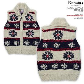 Kanata カウチンセーター(カウチンベスト)|カナタ社|カナダ製|KA10011 VINTAGE SNOW(ヴィンテージ・スノー)|ホワイト|メンズ|ウール100%(ピュアヴァージンウール)|6PLY WOOL(6本撚り)|フルオープン|YKK製シングル・ジップアップ(10mm)|ノースリーブ