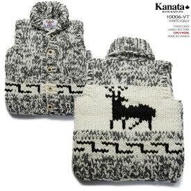 Kanata カウチンセーター(カウチンベスト)|カナタ社|カナダ製|ka10006v TWEED DEER VEST(ツイード・ディア)大角鹿|ホワイト/グレイ|メンズ|ウール100%(ピュアヴァージンウール)|12PLY WOOL(12本超極太撚り)|フルオープン|メープルボタン|ノースリーブ