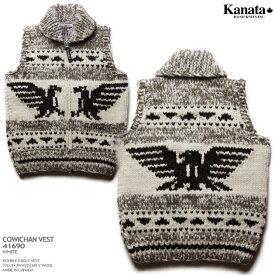 Kanata カウチンセーター(カウチンベスト)|カナタ社・カナダ製|KA41690 DOUBLE EAGLE VEST(ダブル・イーグル・ベスト)|ホワイト|メンズ|ウール100%(Wool100%)|6PLY WOOL(6本撚り)|フルオープン|TALON 2WAY[S](ジップアップ)|ノースリーブ 10P03Sep16