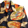 Aloha 拉腊基 (LALAKAI) | HL 023NL 和平兔和海军 | 男装 | 东方丝绸 | 厚面团 | 长袖 | Aloha 阿罗哈衬衫 LALAKAI