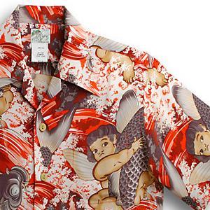 アロハシャツ・ララカイ(LALAKAI)|HL-025 天使と鯉|レッド|メンズ|縮緬(ちりめん)シルク|薄手生地|半袖|アロハタワー(アロハシャツ販売) LALA KAI