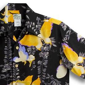 アロハシャツ・ララカイ(LALAKAI) HL-028 大蝶 ブラック メンズ ちりめんシルク 薄手生地 半袖 アロハタワー(アロハシャツ販売) LALA KAI