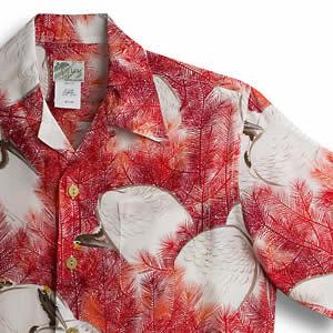 アロハシャツ・ララカイ(LALAKAI)|HL-029 鶴と松|レッド|メンズ|縮緬(ちりめん)シルク|薄手生地|半袖|アロハタワー(アロハシャツ販売) LALA KAI