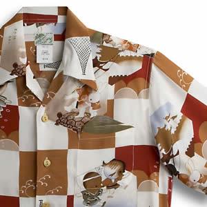 アロハシャツ・ララカイ(LALAKAI)|HL-030 龍宮城|レッド|メンズ|縮緬(ちりめん)シルク|薄手生地|半袖|アロハタワー(アロハシャツ販売) LALA KAI