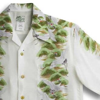 Aloha 拉腊基 (LALAKAI) | HL-031 起重机 | 象牙 | 男装 | Chirimen 丝绸 | 薄面团 | 短袖 | 阿罗哈 (Aloha 衬衫销售)