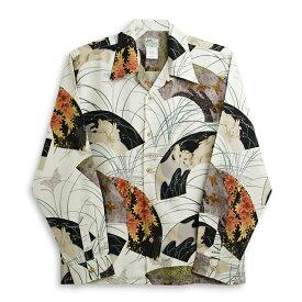 アロハシャツ・ララカイ(LALAKAI) Hl-042LG兎・アイボリー メンズ スパンシルク 薄手と厚手の中間生地 長袖 アロハタワー Aloha Shirts LALAKAI  10P11Mar16