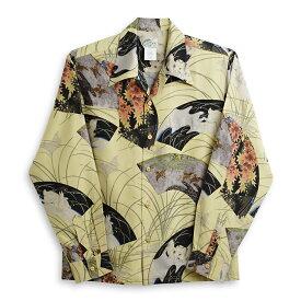アロハシャツ・ララカイ(LALAKAI) Hl-042LG兎・イエロー メンズ スパンシルク 薄手と厚手の中間生地 長袖 アロハタワー Aloha Shirts LALAKAI  10P11Mar16