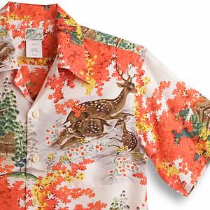 アロハシャツ・ララカイ(LALAKAI)|HL-044紅葉・レッド|メンズ|羽二重シルク|薄手生地|半袖|アロハタワー Aloha Shirt LALAKAI