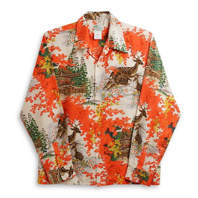 アロハシャツ・ララカイ(LALAKAI)|Hl-044LG 紅葉・レッド|メンズ|スパンシルク|薄手と厚手の中間生地|長袖|アロハタワー(アロハシャツ販売) LALA KAI 10P11Mar16