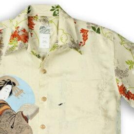 アロハシャツ・ララカイ(LALAKAI) HL-059EX 花魁と桜 アイボリー メンズ 平織りジャガードシルク 薄手生地 半袖 アロハタワー(アロハシャツ販売)