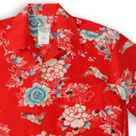 アロハシャツ・ララカイ(LALAKAI) HL-063 すずめ レッド メンズ 縮緬(ちりめん)シルク 薄手生地 半袖 アロハタワー(アロハシャツ販売)