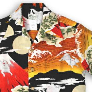 アロハシャツ・ララカイ(LALAKAI)|HL-066 兎と富士|レッド|メンズ|縮緬(ちりめん)シルク|薄手生地|半袖|アロハタワー(アロハシャツ販売)