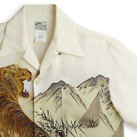 アロハシャツ ララカイ(LALAKAI) HL-050虎・アイボリー メンズ 縮緬(ちりめん)シルク 薄手生地 半袖 アロハタワー Aloha Shirt LALAKAI