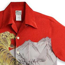 アロハシャツ ララカイ(LALAKAI) HL-050虎・レッド メンズ 縮緬(ちりめん)シルク 薄手生地 半袖 アロハタワー Aloha Shirt LALAKAI