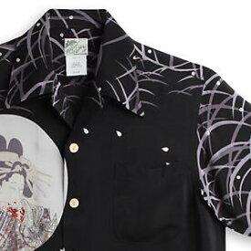 アロハシャツ ララカイ(LALAKAI)|HL-051花魁と髑髏・ブラック|メンズ|縮緬(ちりめん)シルク|薄手生地|半袖|アロハタワー Aloha Shirt LALAKAI
