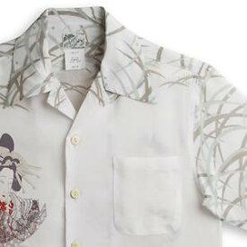 アロハシャツ ララカイ(LALAKAI) HL-051花魁と髑髏・カーキ メンズ 縮緬(ちりめん)シルク 薄手生地 半袖 アロハタワー Aloha Shirt LALAKAI