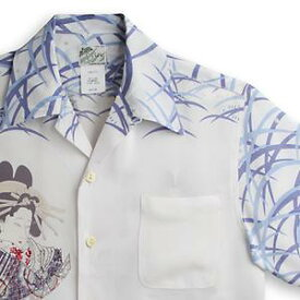 アロハシャツ ララカイ(LALAKAI) HL-051花魁と髑髏・サックス メンズ 縮緬(ちりめん)シルク 薄手生地 半袖 アロハタワー Aloha Shirt LALAKAI