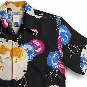 アロハシャツ マカナレイ(MAKANA LEI) AMT-037SP 金魚スペシャル ブラック メンズ 膨れジャガードシルク 薄手生地 半袖 アロハタワー(アロハシャツ販売)