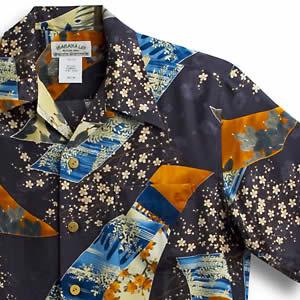 アロハシャツ マカナレイ(MAKANA LEI)AMT-060EX 江戸桜エクセレント ネイビー メンズ 平織りジャガードシルク 薄手生地 半袖 アロハタワー(アロハシャツ販売)