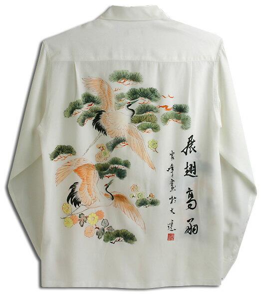 アロハシャツ・マカナレイ(MAKANA LEI) スペシャルエディション メンズ Hand Painting(手描きハワイアンシャツ) 鶴&松(HAD-012-L) シルクちりめん 長袖 アロハタワー(アロハシャツ販売)