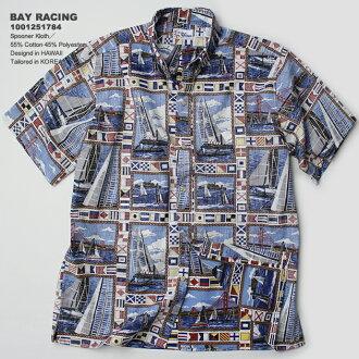 夏威夷衬衫|雷恩斯普纳(REYN SPOONER)|夏威夷衬衫|0125-1784 BAY RACING(海湾·赛车)|白|棉布55%聚酯45%|purakettofuronto|衣料差事|按钮降低(BD Collar)|短袖|夏威夷衬衫塔(夏威夷衬衫销售)