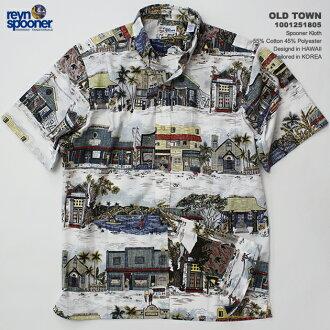 夏威夷衬衫|雷恩斯普纳(REYN SPOONER)|0125-1805 OLD TOWN(老·市镇)|白|棉布55%聚酯45%|purakettofuronto(表前襟)|衣料差事|按钮降低(BD Collar)|短袖|夏威夷衬衫塔(夏威夷衬衫销售)