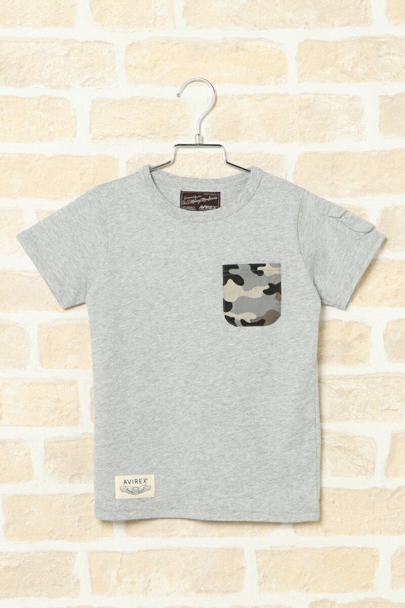 【キッズ】AVIREX アヴィレックス ポケTシャツ(110〜140cm)カモフラ 迷彩 ポケ付き
