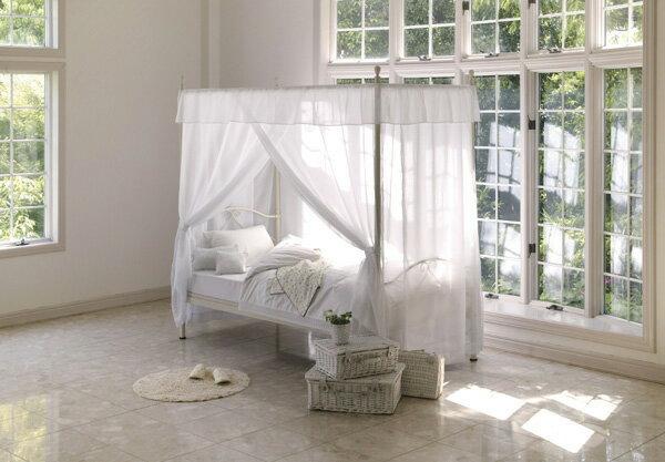 ベッド = 天蓋付きエレガントベッド 気分はお姫様!優美でかわいいヨーロピアンデザイン ホワイト【smtb-F】