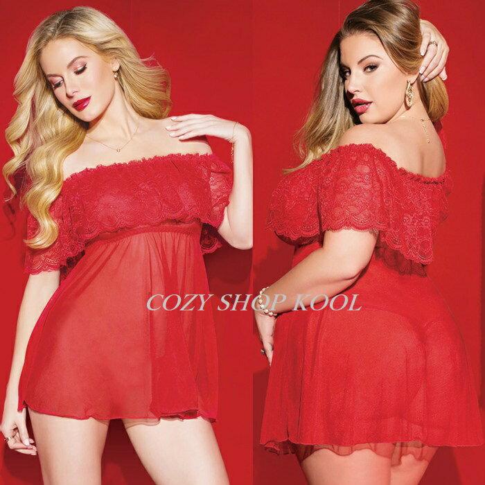 【大きいサイズ】可愛いぃふりふり赤いランジェリー■ベビードール・サンタ★M・XL・3XL・5XLあり