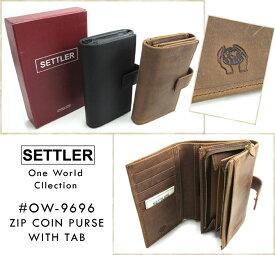 ≪セトラー≫ SETTLER #OW-9696 Zip Coin Purse With Tab タブ付き財布 ワンワールドコレクション 本革 オイルドレザー ブラウン ブラック (送料無料/男女兼用/ビジネス/カジュアル/ギフト)