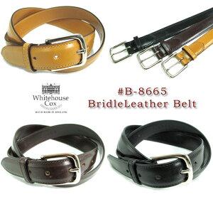 ホワイトハウスコックス/WhitehouseCox/DressBeltCollection/#B-8665/BridleLeatherBelt/ブライドルレザーベルト/牛革/幅28mm/英国製/真鍮製/バックル/ニッケルコーティング/男女兼用/C.POINT