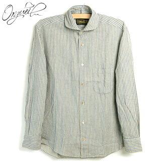 Orgueil #OR-5002B Windsor Collar Shirts ≪ Blue Stripe ≫ 윈저 칼라 셔츠 블루 스트라이프 와이드 스프레드 칼라 드레스 작업 포탄 단추 면 일본은 리처드 사탕 화재 ダルチザン 복제 데님