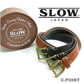 (スロウ) SLOW #HS23E Narrow Plain Belt -tochigi leather-(ナロープレーンベルト/栃木レザー/牛革/カウレザー/フルベジタブルタンニン/オンオフ/3cm幅/男女兼用/日本製/XS/S/M/プレゼント/ギフト/送料無料)