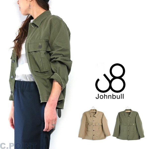 18ss (ジョンブル) Johnbull Lady's #AL904 Miritary Shirt Jacket #ミリタリーシャツジャケット ヘリンボーン US.ARMY アーミー 8分袖 日本製 ≪送料無料≫ (レディース/アウター/ブルゾン/裁ち切り/フリンジ/軽量/オリーブ/カーキ)