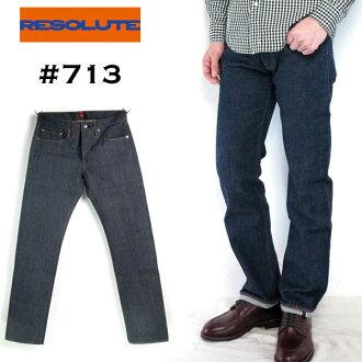 果断的 «リゾルト» #713 66 模型的胯部浅层 29-34 寸紧直牛仔长裤牛仔裤纸修补程序 13.75 盎司 momotarō 刚性 & 一洗涤棉 100%日本制造