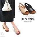 (エネス) ENESS Lady's #V-Cut Wedgesole Sandal #Vカットウェッジソールサンダル Lady's 本革 ウッドソール プラットフォーム イタリ…