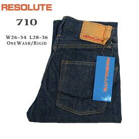 リゾルト RESOLUTE 710 W26-34inch Rigid/OneWash 66モデル タイト ストレート デニム パンツ ジーンズ 紙パッチ 13.75oz ボタンフライ リジッド&ワンウォッシュ 綿100% 日本製