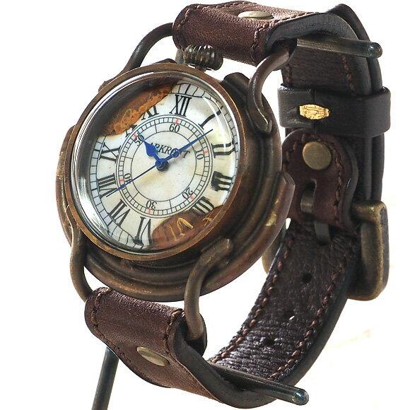 """ARKRAFT(アークラフト) 手作り腕時計 """"Curtis jumbo """" ローマ数字 プレミアムストラップ [AR-C-002-RO] 時計作家・新木秀和 ハンドメイドウォッチ ハンドメイド腕時計 手作り時計 メンズ・レディース 本革ベルト アンティーク調 真鍮 クオーツ アナログ 日本製 国産"""