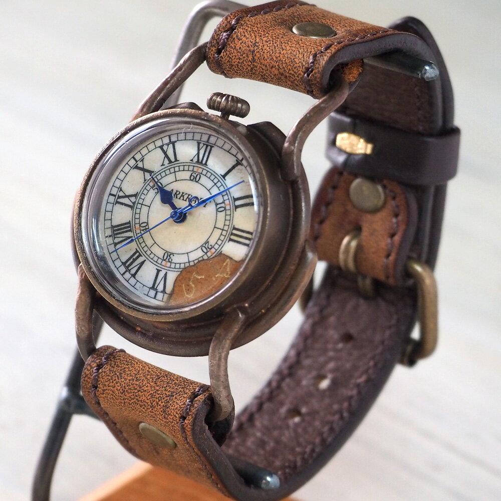"ARKRAFT(アークラフト)手作り腕時計 ""Curtis Men's"" ローマ数字 プレミアムストラップ [AR-C-003-RO] 時計作家・新木秀和 ハンドメイドウォッチ ハンドメイド腕時計 手作り時計 メンズ・レディース 本革ベルト アンティーク調 真鍮 クオーツ アナログ 日本製 国産"